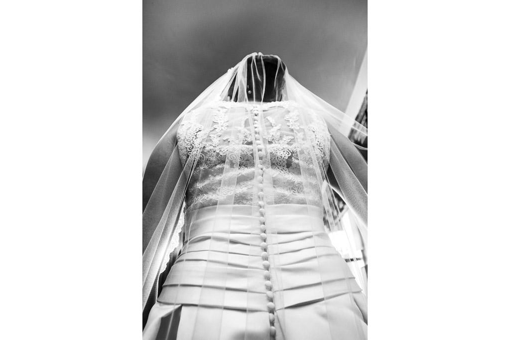 Primer plano del velo de la novia